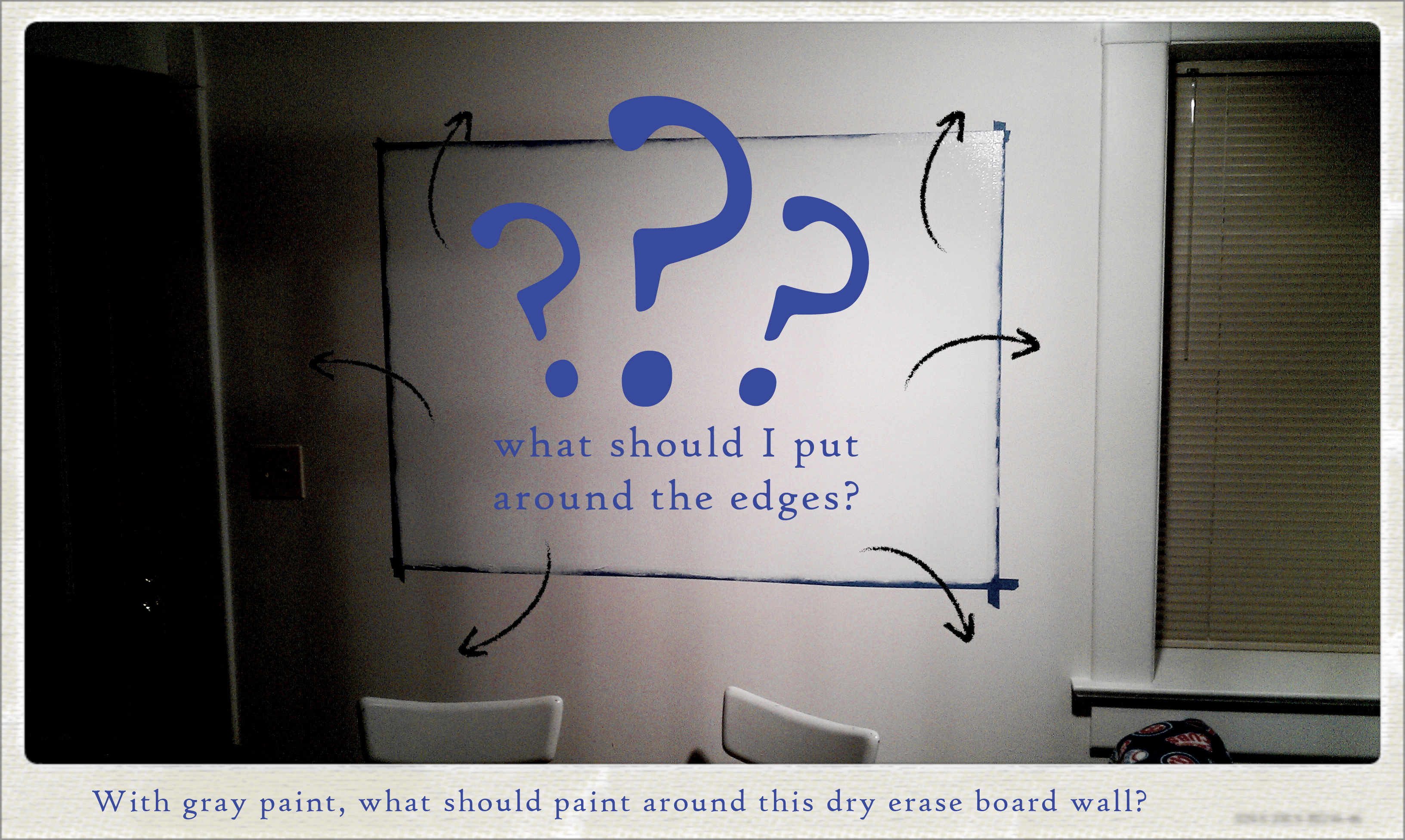 design ideas for the border to my dry erase board wall nate schrader. Black Bedroom Furniture Sets. Home Design Ideas