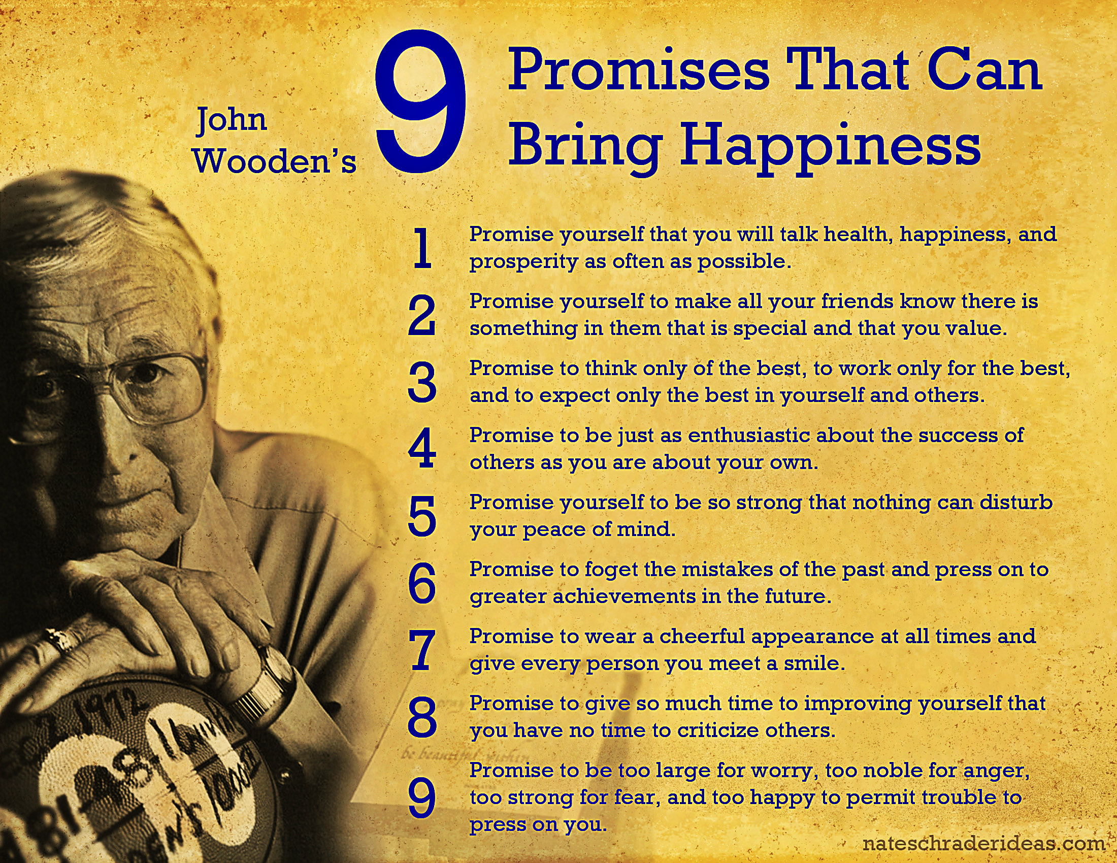 graphic regarding John Wooden Pyramid of Success Printable called John Woodens 9 Statements toward Joy NATE SCHRADER