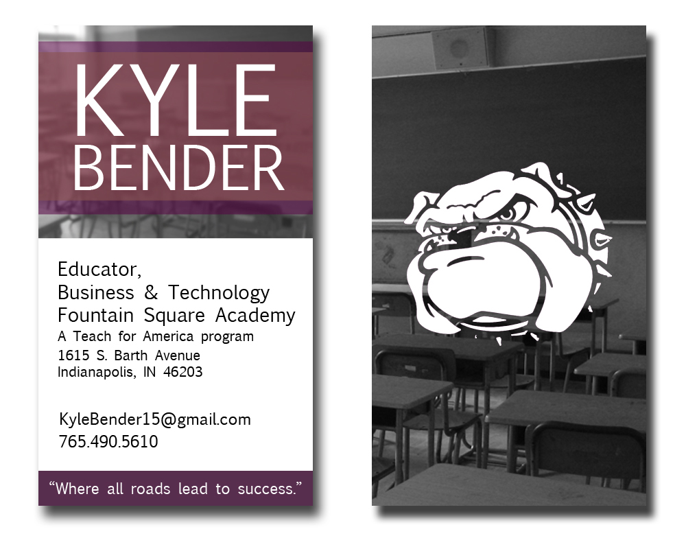 Business cards stationary for kyle bender tfa corps member 2012 kyle bender vertical business card by nate schrader reheart Choice Image