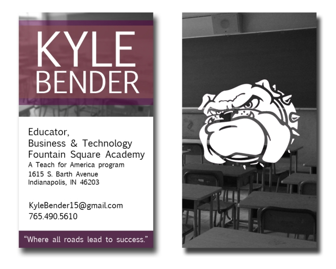 Kyle Bender Vertical Business Card by Nate Schrader