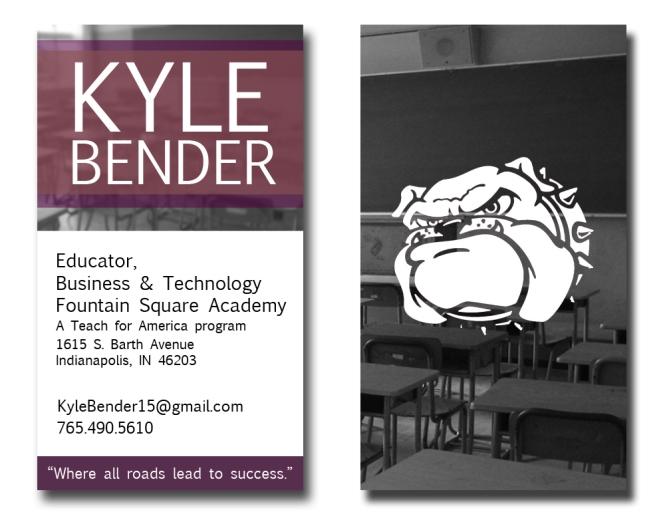 Kyle Bender Vertical Business Card by Nate Schrader