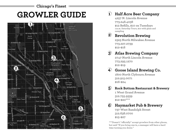 Chicago Beer Growler Fill Guide Map