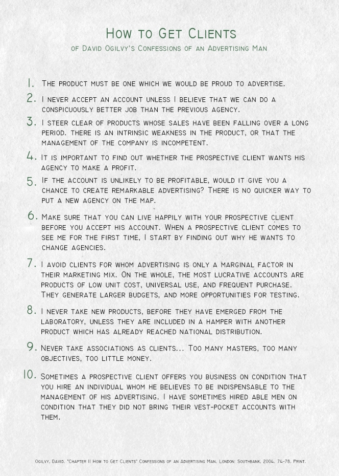 Ogilvy Advertising Tips Poster How to Get Clients