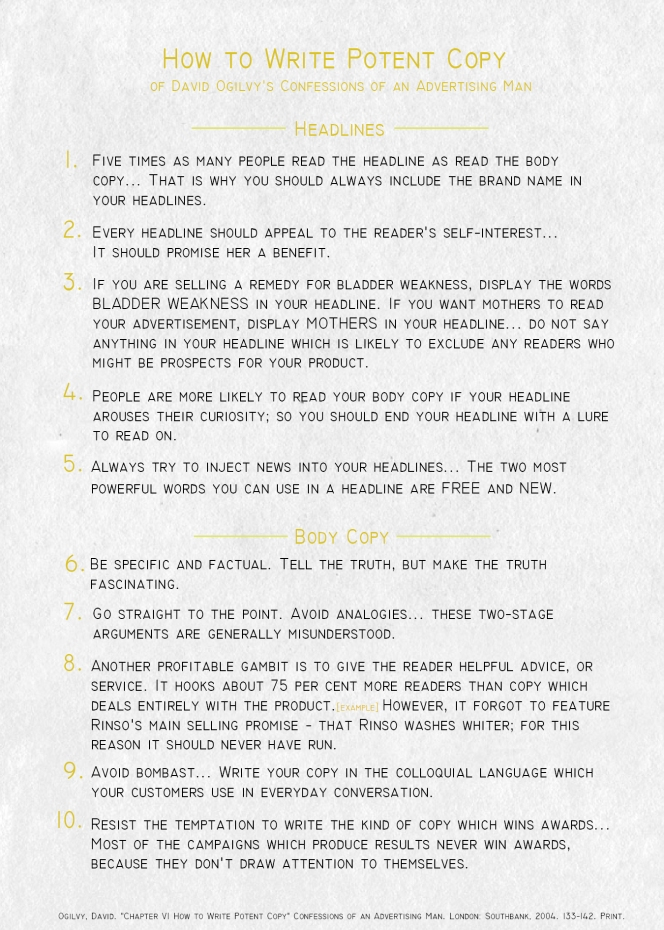 Ogilvy Advertising Tips Poster How to Write Potent Copy