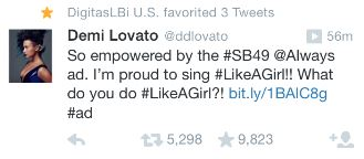 Demi Lovato Super Bowl Tweet