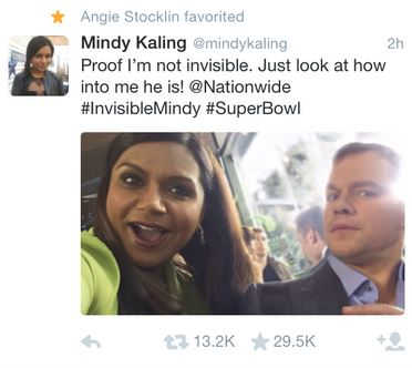 Mindy Kaling Super Bowl Tweet