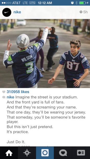 Nike super bowl 2015 instagram ad